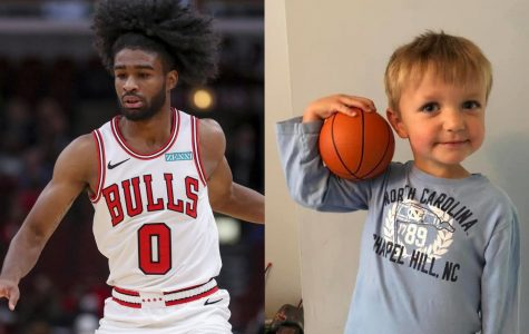 Left: Bulls guard Coby White handles the ball during a game against the Bucks at the United Center on Oct. 7, 2019. (Armando L. Sanchez / Chicago Tribune/TNS)  Right: Photo courtesy of Julie Lawlor