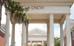 UNCW columns between Leutze and Morton Hall.