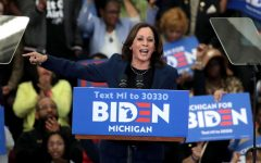 Sen. Kamala Harris (D-CA) introduces Democratic presidential candidate former Vice President Joe Biden at a campaign rally at Renaissance High School on March 9, 2020 in Detroit, Michigan. (Photo by Scott Olson/Getty Images/TNS)