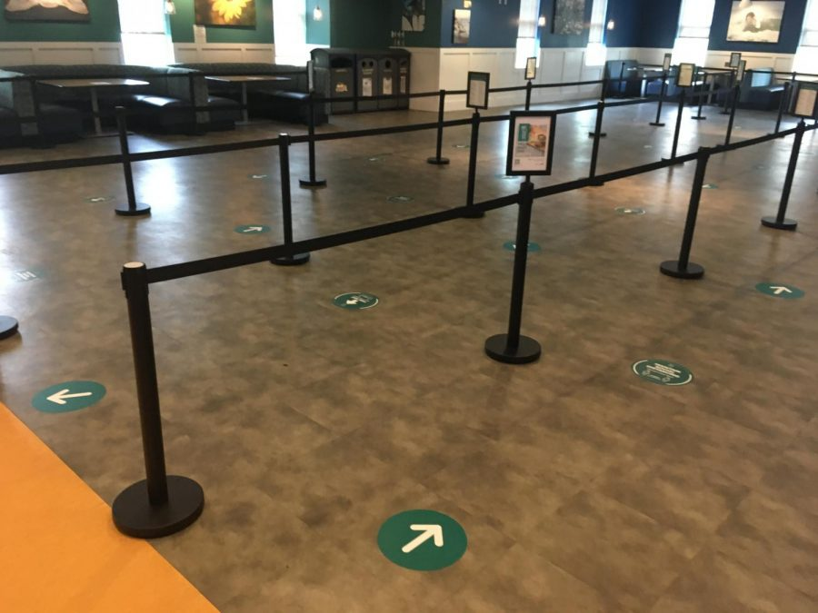 New social distance markings located in the Fisher Student Center.
