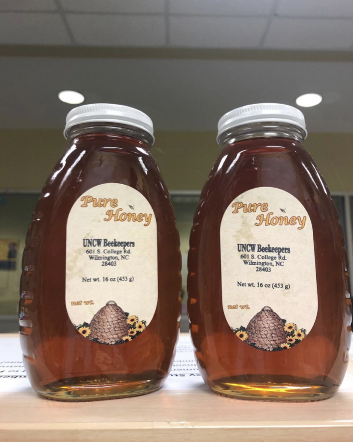 Some of the bottled honey that was sold last year on campus. One pound bottles are available for $9.50 at the POD markets on campus.