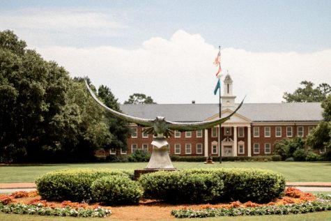 The Seahawk statue displayed at the front of UNCW's campus.