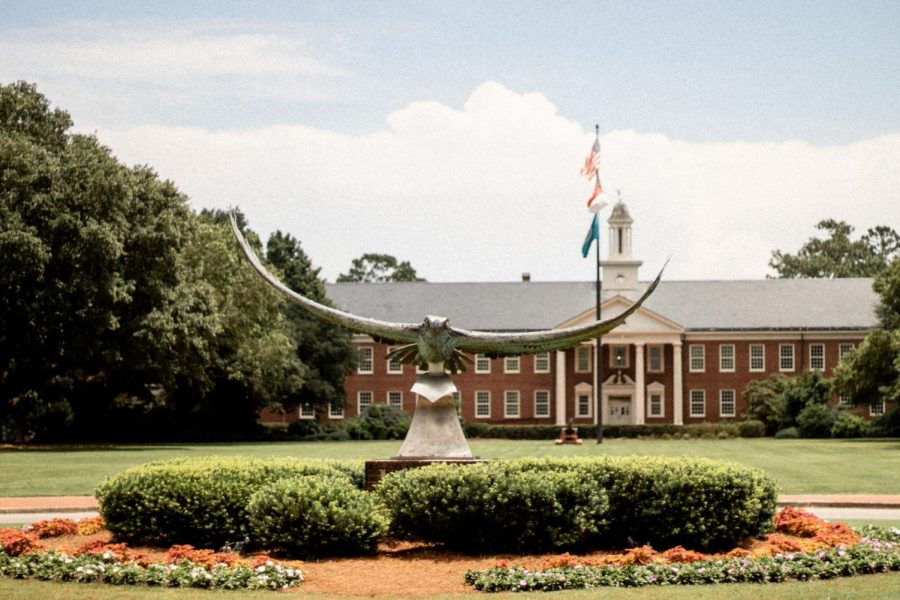 The Seahawk statue displayed at the front of UNCW