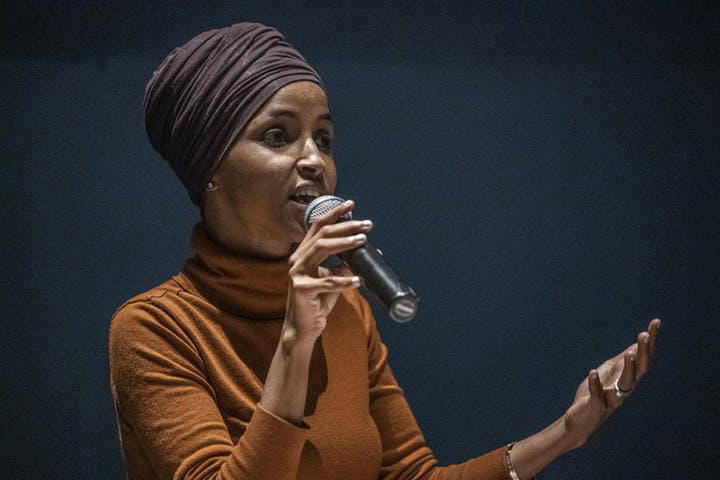 Rep. Ilhan Omar speaks at a town hall meeting at the Colin Powell Center in Minneapolis. (Richard Tsong-Taatarii/Minneapolis Star Tribune/TNS)