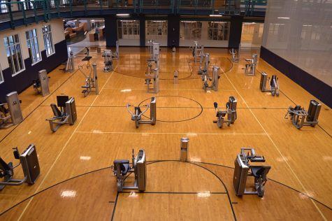 Due to the coronavirus social distance measures, exercise equipment has been spaced at least 6 feet apart.