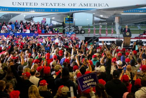 President Donald Trump speaks to his supporters during a Thursday rally in Freeland, Michigan. (Mandi Wright/Detroit Free Press/TNS)