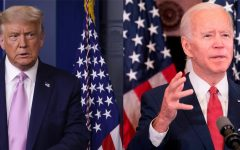 In this photo combination: President Donald Trump, left, speaks during a news conference in the briefing room of the White House; and Democratic presidential candidate, and former Vice President, Joe Biden speaks about the unrest across the country from Philadelphia City Hall. (From left:Alex Wong/Jim Watson AFP/Getty Images/TNS) (Editors note: this is two combined, cropped photos from Getty Images)