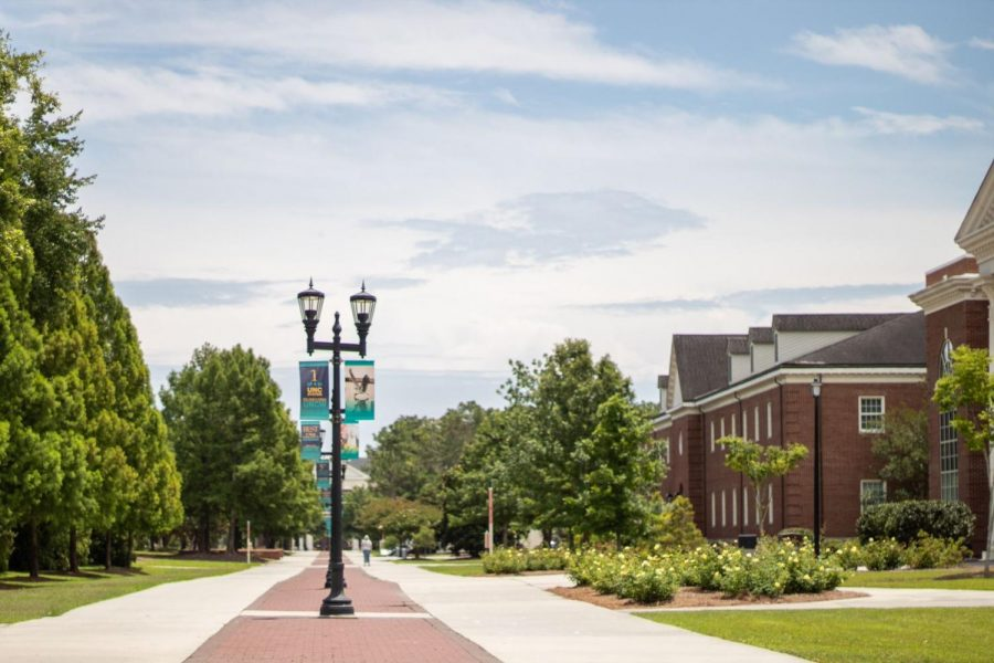 The view a Chancellor's Walk on UNCW's campus.