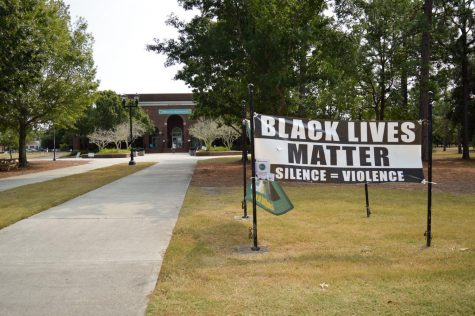 One of the SGA sponsored BLM banners hung near Wagner dining hall.