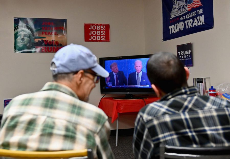 Trump supporters watch the first presidential debate between US President Donald Trump and Democratic presidential nominee and former Vice President Joe Biden on Sept. 29, 2020 in Old Forge, near Scranton, Pennsylvania. (Angela Weiss/AFP/Getty Images/TNS)