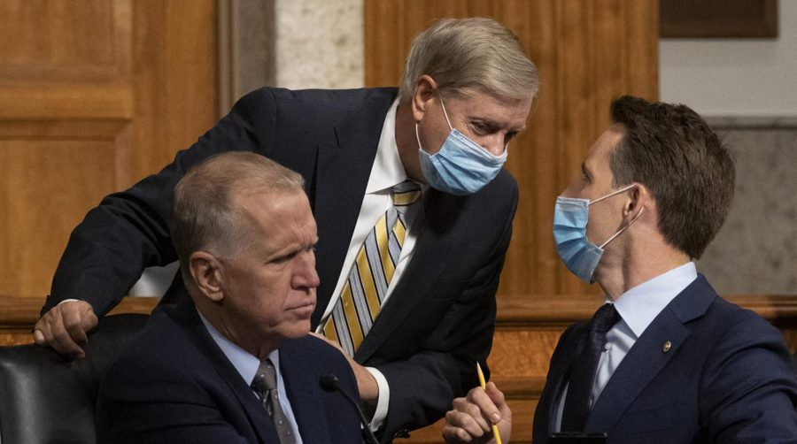 From left, Sen Thom Tillis (R-NC), Senate Judiciary Committee chairman Sen. Lindsey Graham (R-SC), and Sen. Josh Hawley (R-MO), speak during a committee oversight hearing on Capitol Hill in Washington, D.C., on August 5, 2020. (Carolyn Kaster/Pool/Abaca Press/TNS)