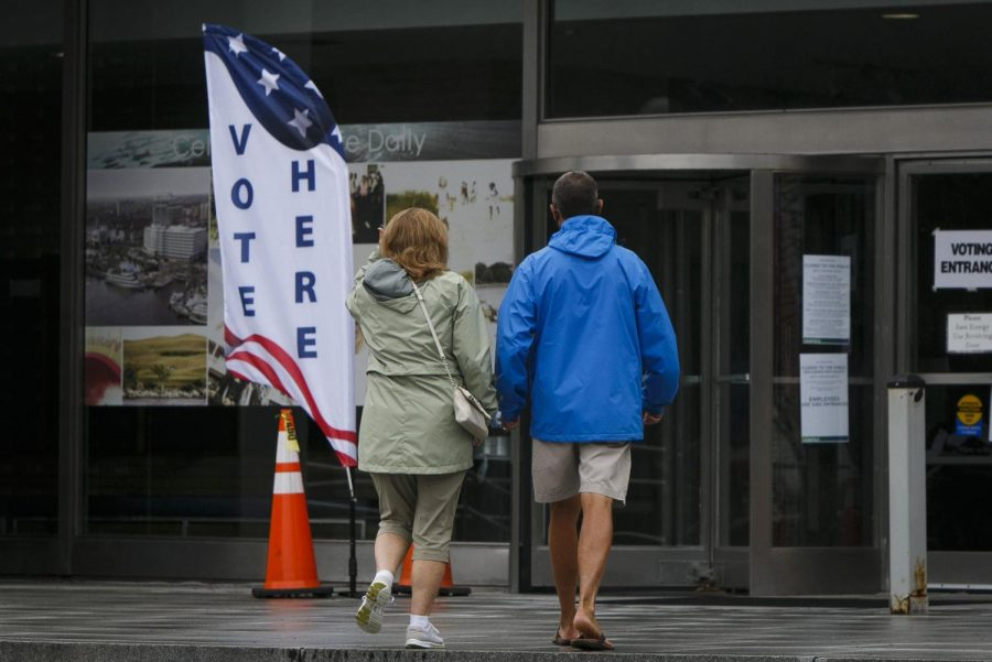 Voters for no-excuse, in-person absentee voting at Norfolk City Hall in Norfolk, Virginia on Friday, Sept. 18, 2020. (Kristen Zeis/The Virginian-Pilot/TNS)
