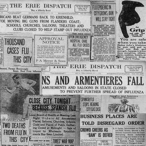 This is a photo collage of 1918 Spanish flu covers and articles from the Erie Daily Times and the Erie Dispatch. [ERIE TIMES-NEWS]