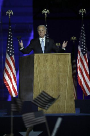 President-elect Joe Biden delivers his victory speech after defeating Donald Trump in the presidential election on Saturday, Nov. 7, 2020, at the Chase Center in Wilmington, Delaware. (Carolyn Cole/Los Angeles Times/TNS)