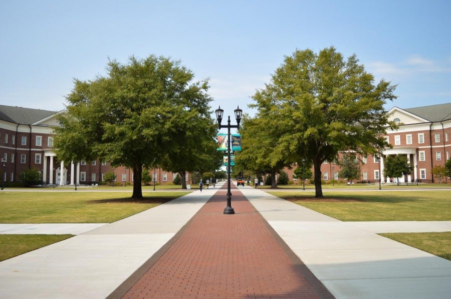 View looking down Chancellor's walk at UNCW.