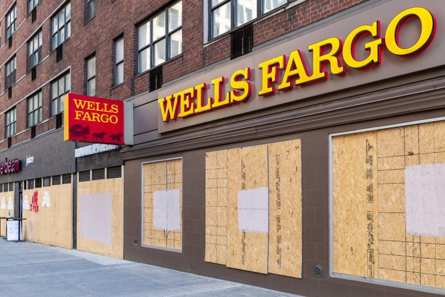 Wells Fargo location in New York City boarded up in preparation for post-election violence. Photo by Jack Cohen