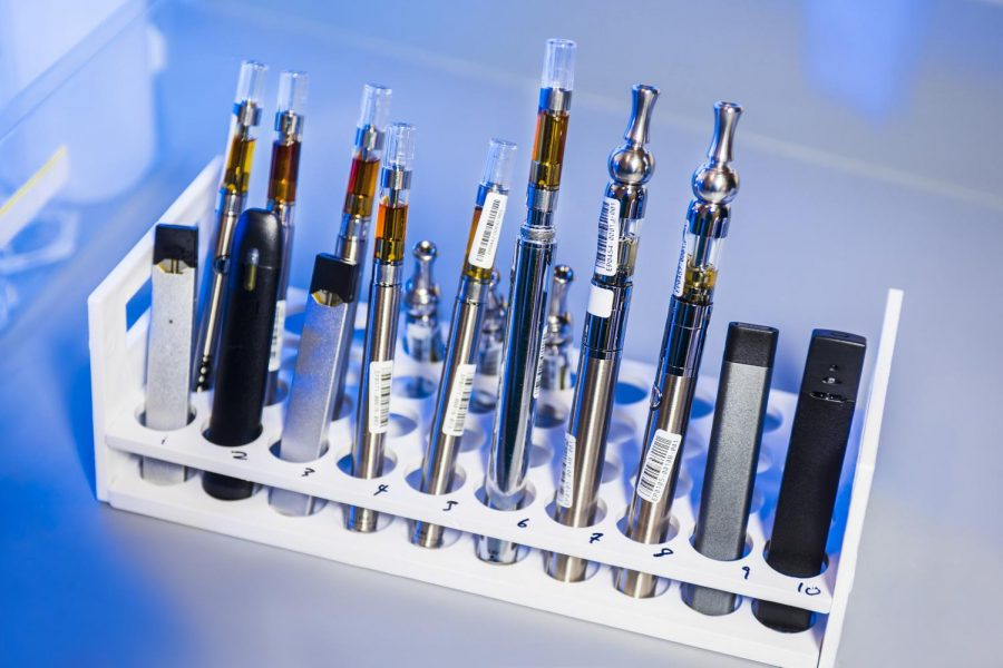 This image depicted a test tube rack that had been stocked with examples of various electronic cigarettes, referred to as e-cigarettes, or e-cigs, and vaping pens. These items would undergo testing inside a Centers for Disease Control and Prevention (CDC) laboratory environment.