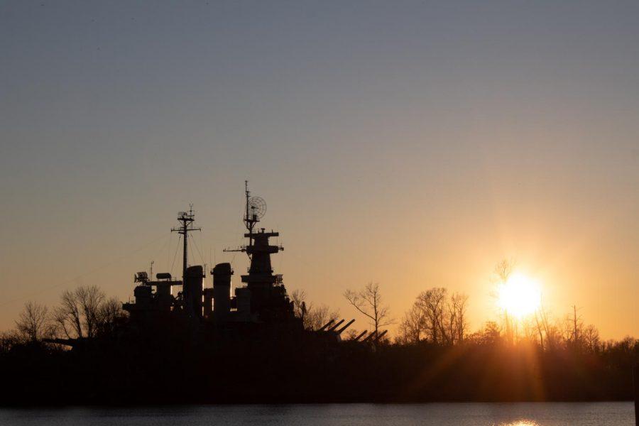 The battleship at sunset.