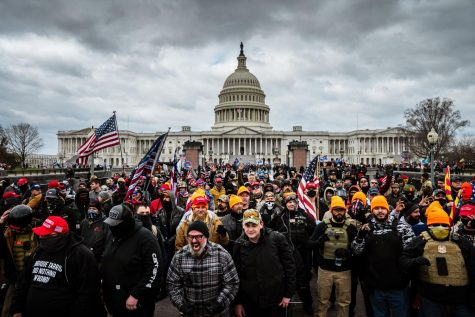 WASHINGTON, DC - JANUARY 06: Pro-Trump protesters gather in front of the U.S. Capitol Building on January 6, 2021 in Washington, DC. A pro-Trump mob stormed the Capitol, breaking windows and clashing with police officers. Trump supporters gathered in the nation