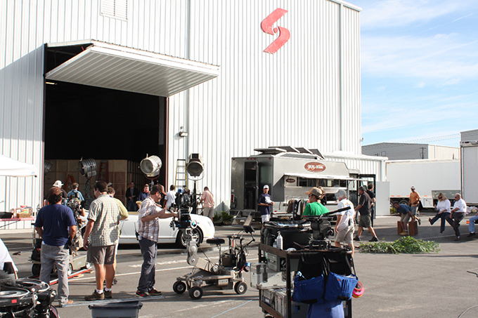 Filming at Screen Gems Studios.