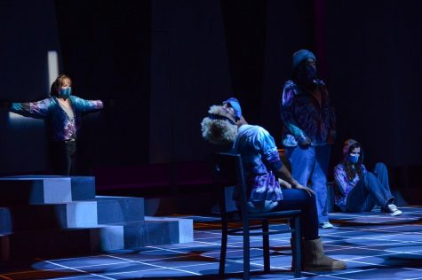 Brenna Flanagan, Addison Hamlet, Dajah Glenn, and Kara Shoup perform in Psychosis.