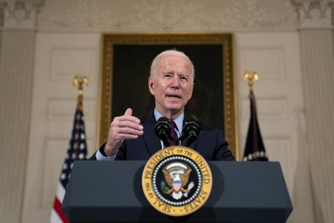 President Joe Biden delivers remarks on the national economy in the State Dining Room at the White House in Washington, D.C., on Feb. 5, 2021. Biden on Wednesday said his administration will sanction military leaders in Myanmar linked to this month's coup.