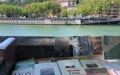 An image from a book market in Lyon looking across the Saône river towards La Basilique Notre Dame de Fourvière located in Vieux Lyon.