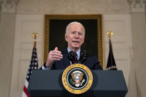 President Joe Biden delivers remarks on the national economy in the State Dining Room at the White House on Feb. 5, 2021. The president's first speech to Congress is generally an opportunity to lay out long-term policy themes as well as shorter-term legislative goals.