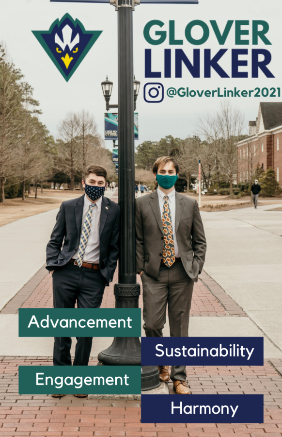 Kyle Glover (right) with running mate, Jake Linker (left) are running in the 2021-2022 SGA election.