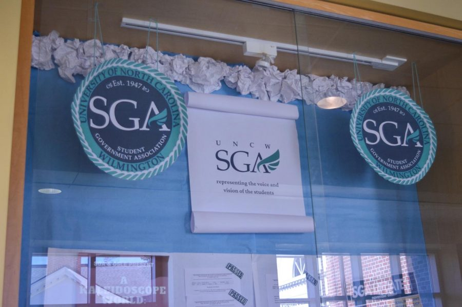 A SGA display in Fisher Student Center.