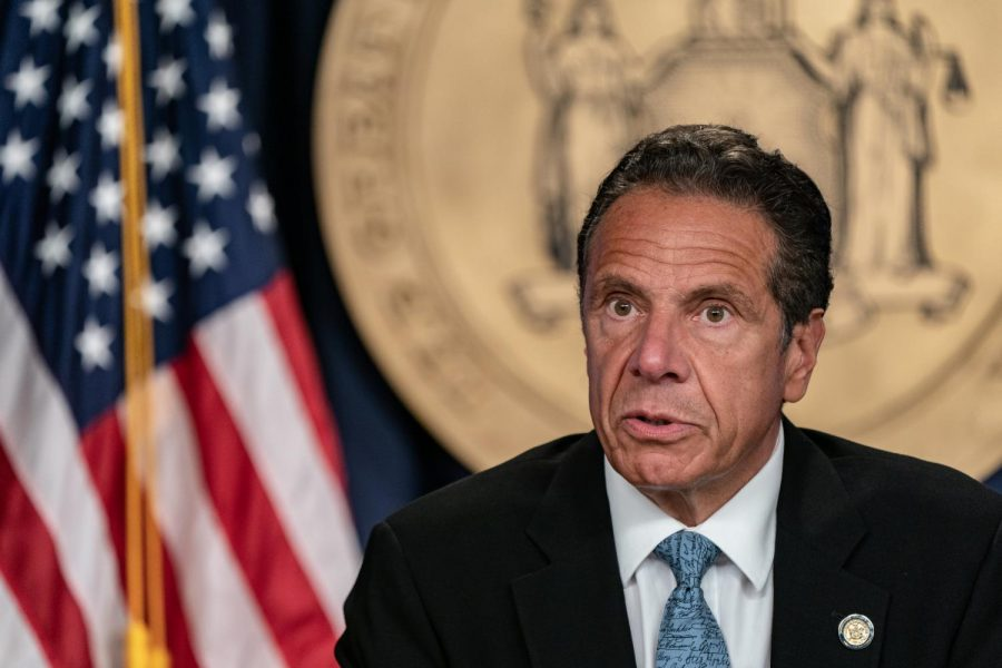New York Gov. Andrew Cuomo speaks during the daily media briefing at the Office of the Governor of the State of New York on July 23, 2020, in New York City. A former aide on Feb. 24, 2021, wrote an essay about sexual harassment she says she suffered in Cuomo