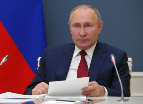 Russian President Vladimir Putin addresses the virtual World Economic Forum via a video link from Moscow on January 27, 2021.