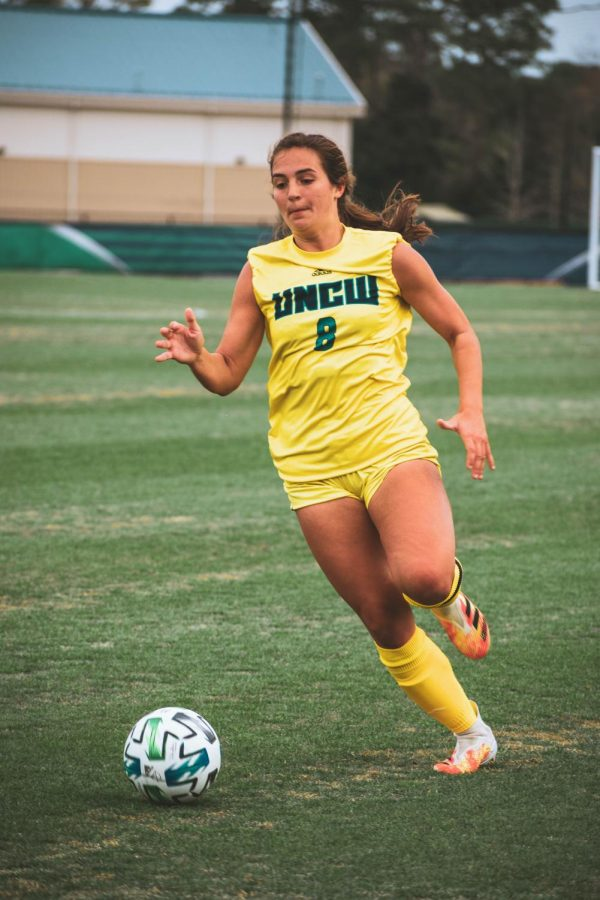 Kara Mills during UNCW's matchup with Duke on Mar. 6, 2021.