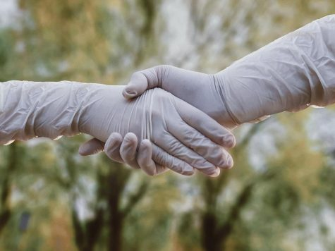 Shaking hands in gloves.