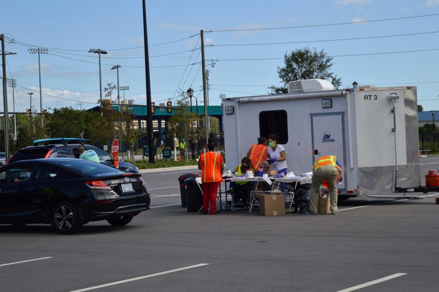 A table is set up for drive-through COVID testing from this past fall.