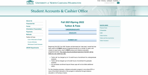 Screen capture taken of the UNCW website page on tuition.
