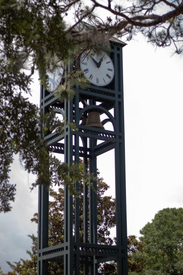 The UNCW clocktower behind some trees.