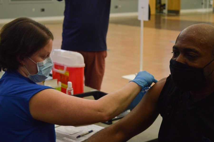 The Johnson & Johnson vaccine being administered in the UNCW Burney Center.