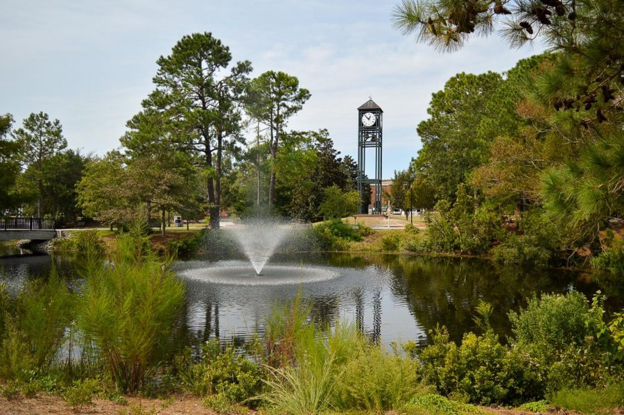 The clocktower across the pond.