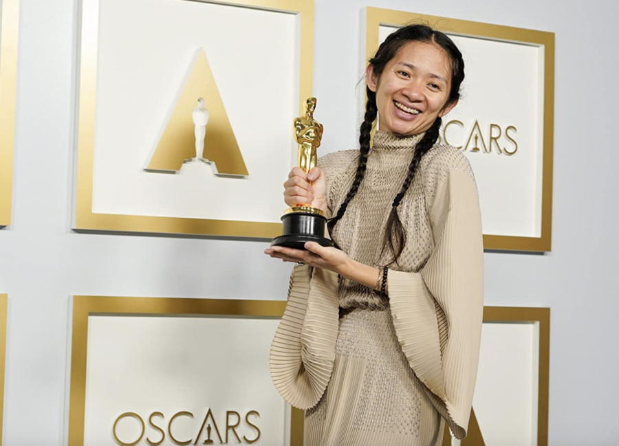 Chloé Zhao at an event for The Oscars (2021).