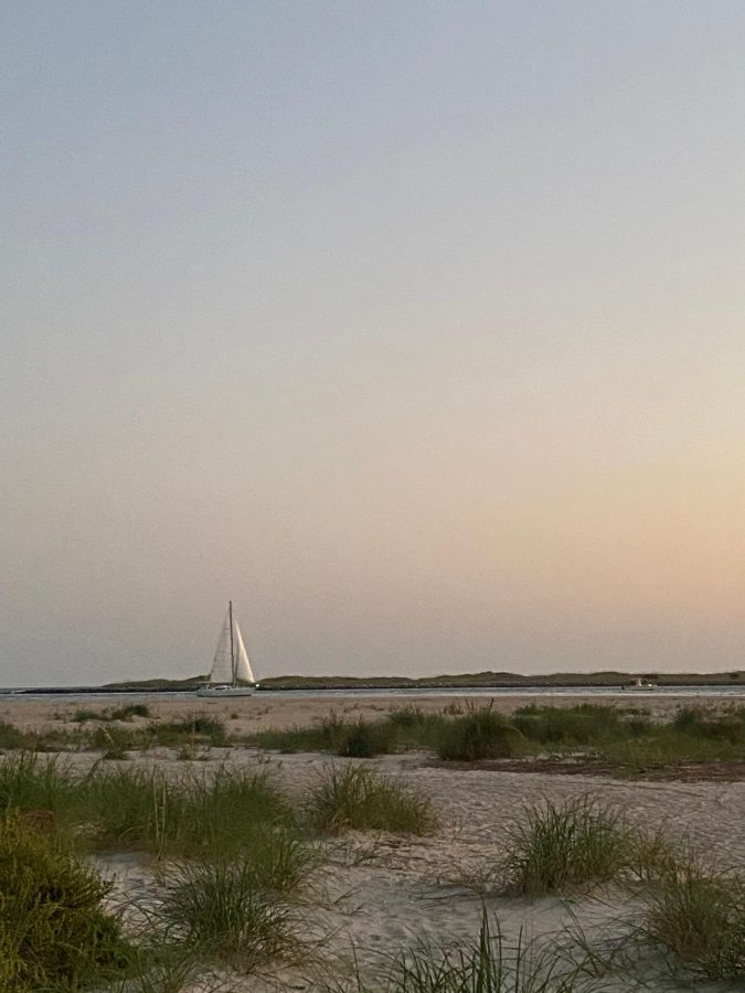 A sailboat in the distance.