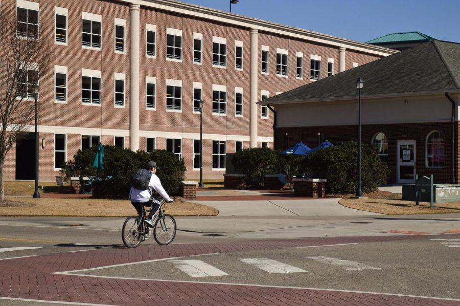 A biker on the crosswalk.