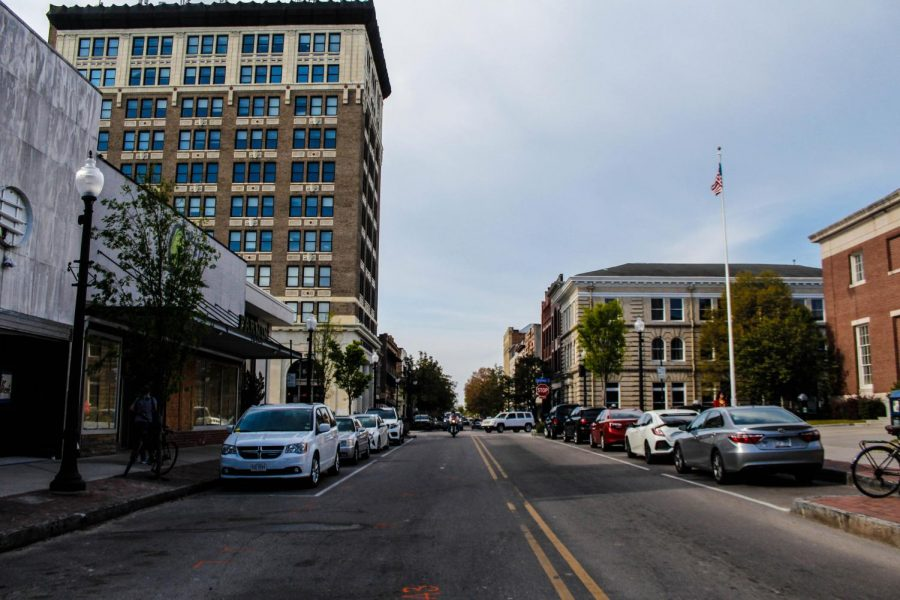 Looking down a street in downtown Wilmington.