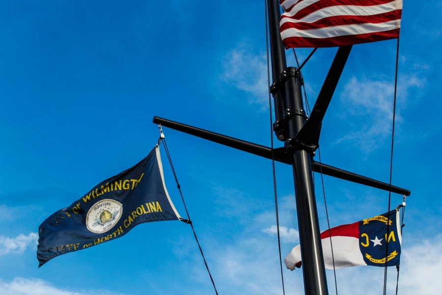 The Wilmington and the North Carolina flags.