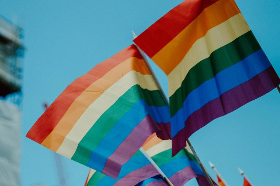 Rainbow flags at a pride parade.