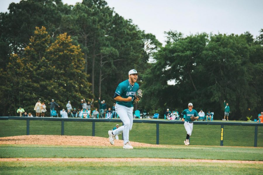Landen Roupp during the 2021 CAA Championship at Brooks Field.