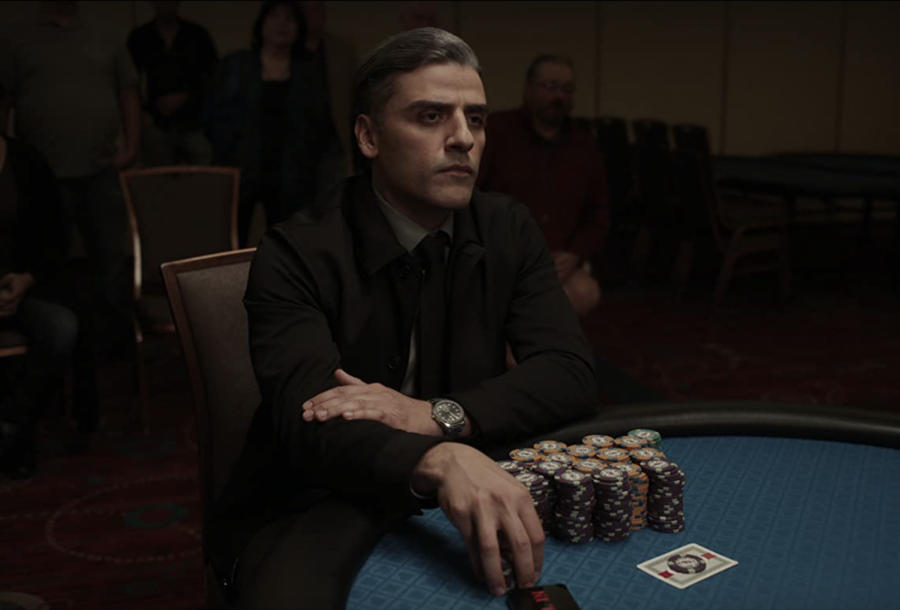"""Oscar Isaac as William Tell in """"The Card Counter"""" (2021)."""