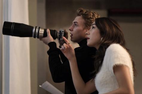 "Ben Hardy and Natasha Liu Bordizzo in ""The Voyeurs"" (2021)."