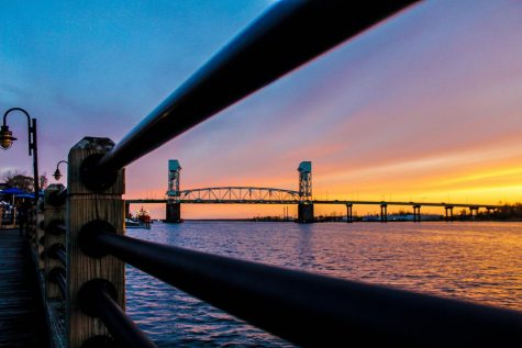 The Wilmington waterfront at sunset.