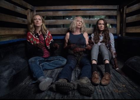 """Judy Greer, Jamie Lee Curtis, and Andi Matichak in """"Halloween Kills"""" (2021)."""